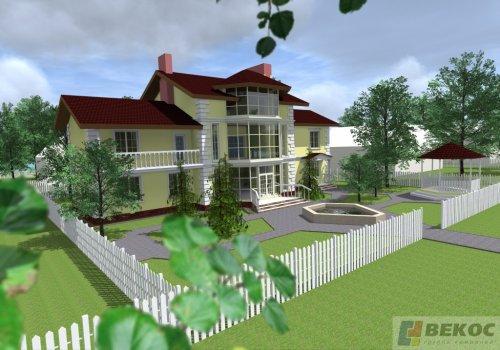 Визуализация проекта коттеджа площадью 502м2 c гаражом на две машины, терассой и каминным залом.